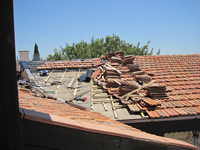 Damaged tile roof after hail storm in Fountain Hills