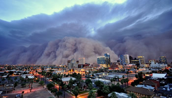 Large Dust Storm Rolling into Phoenix, AZ