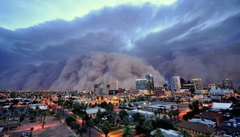 Large Dust Storm Rolling into Phoenix, AZ