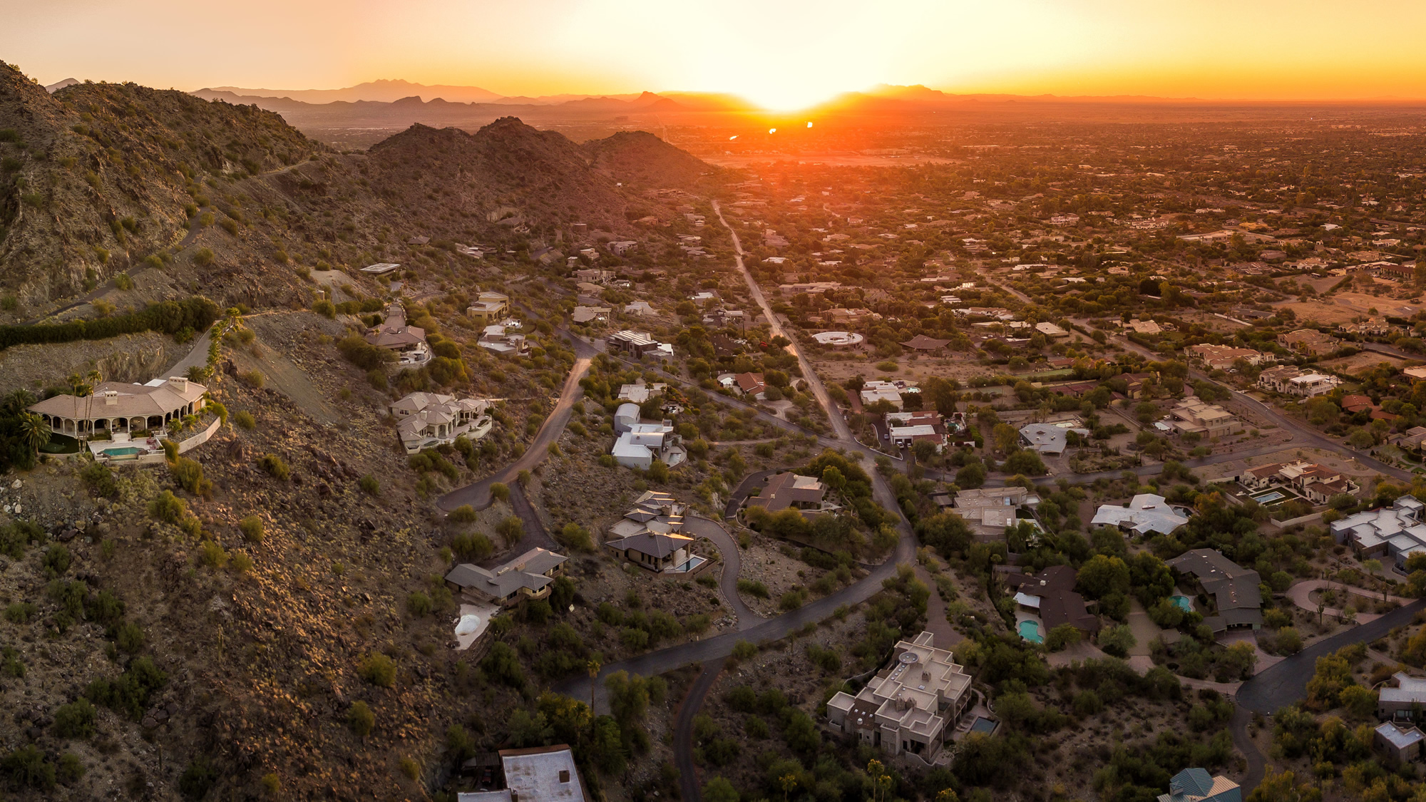 drone view of Scottsdale neighborhood home roofs