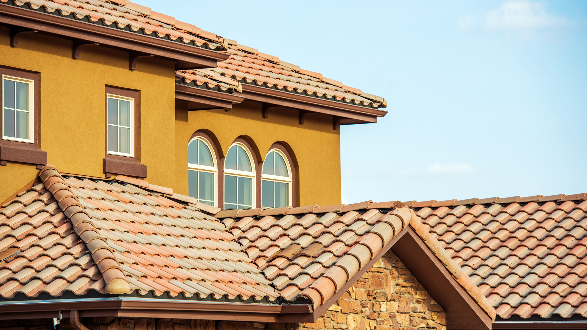 Tile roof being repaired